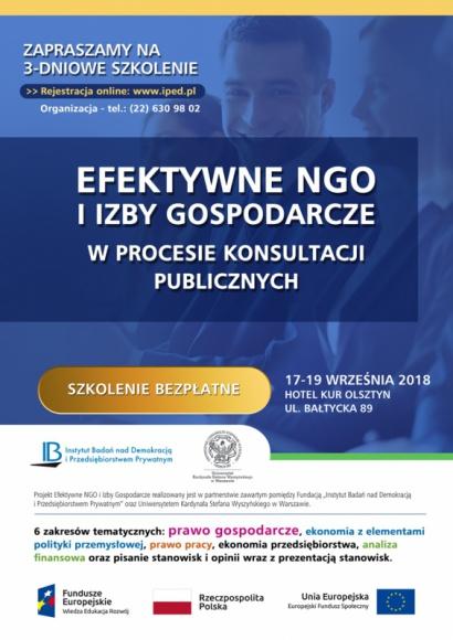 """BEZPŁATNE szkolenie dla NGO oraz Izb Gospodarczych w OLSZTYNIE! BIZNES, Fundusze unijne - Zapraszamy wszystkich pracowników organizacji gospodarczych i Izb Gospodarczych na najbliższe szkolenie """"Efektywne NGO i Izby Gospodarcze"""" organizowane przez Fundację """"Instytut Badań nad Demokracją i Przedsiębiorstwem Prywatnym""""!"""