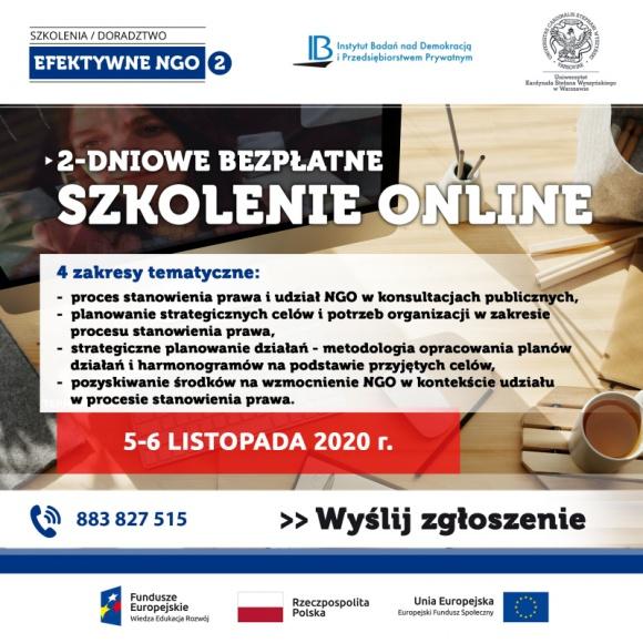 Listopadowe, bezpłatne szkolenie online dla NGO BIZNES, Fundusze unijne - Zapraszamy na kolejny termin bezpłatnego szkolenia dla NGO w formie online. 5-6 listopada podczas 2 dni intensywnego szkolenia eksperci przybliżą zagadnienia z zakresu konsultacji publicznych, tworzenia strategii, wyznaczania celów oraz pozyskiwania środków na wzmocnienie NGO.